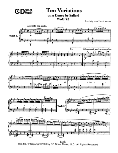 Variations (10) On A Duet By Salieri, Woo 73