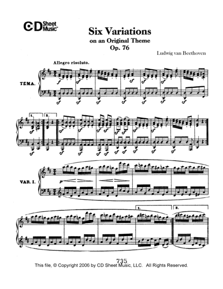 Variations (6) On An Original Theme, Op. 76