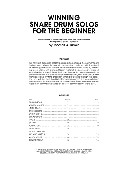 Winning Snare Drum Solos For The Beginner