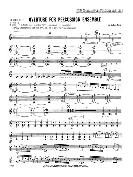 Overture For Percussion Ensemble - Percussion 3