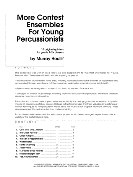 More Contest Ensembles For Young Percussionists - Full Score
