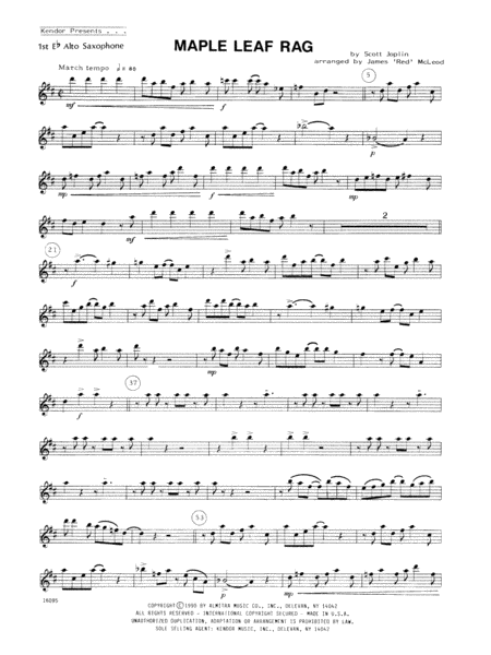 Maple Leaf Rag - Alto Sax 1