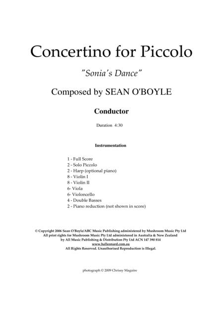 Sonia's Dance Concertino for Piccolo - Score