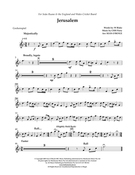 Jerusalem (in key of F) - Glockenspiel