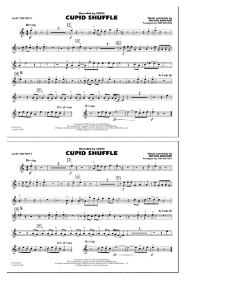 Cupid Shuffle - 2nd Bb Trumpet