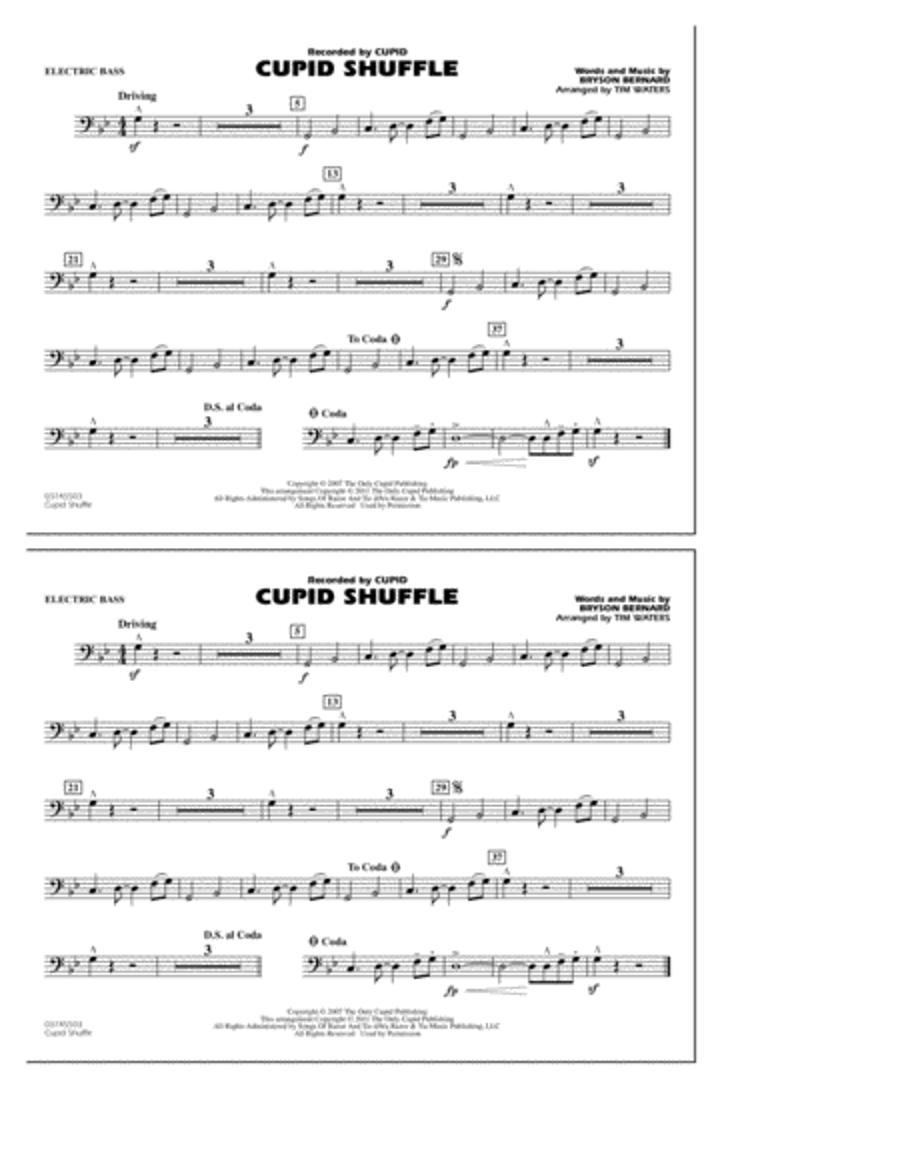 Cupid Shuffle - Electric Bass