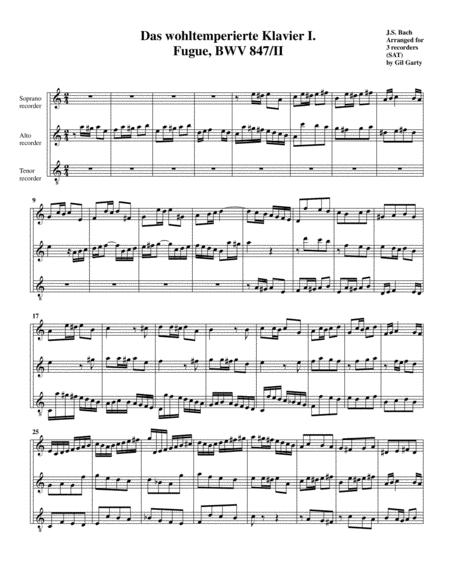 Fugue from Das wohltemperierte Klavier I, BWV 847/II