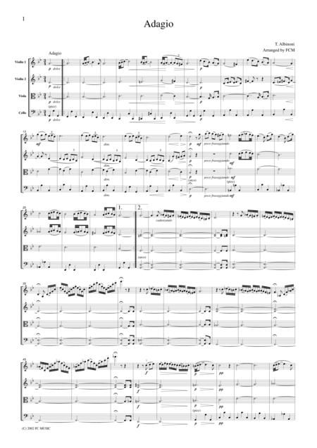 Albinoni  Adagio in g, for string quartet, CA001