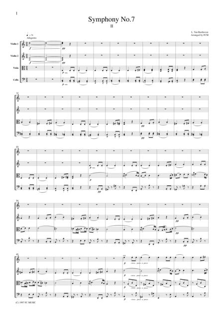 Beethoven  Symphony No.7, 2nd mvt., for string quartet, CB003