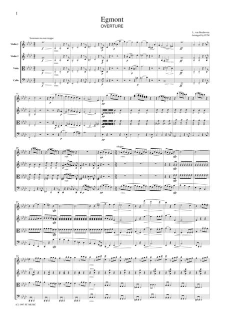 Beethoven  Egmont Overture, for string quartet, CB004