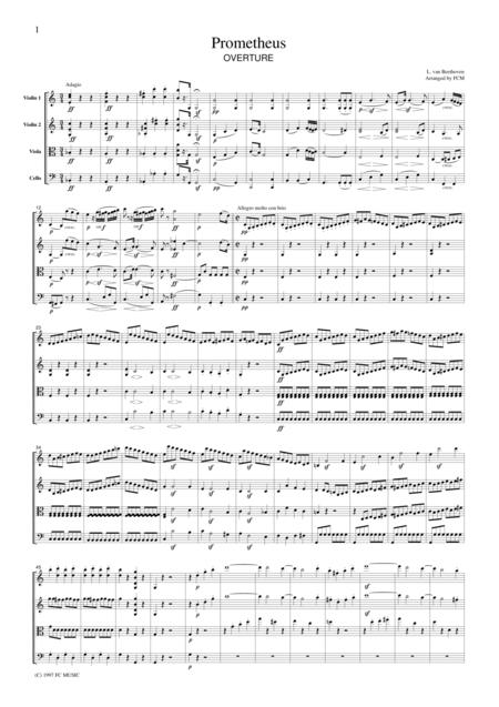 Beethoven  Prometheus Overture, for string quartet, CB005