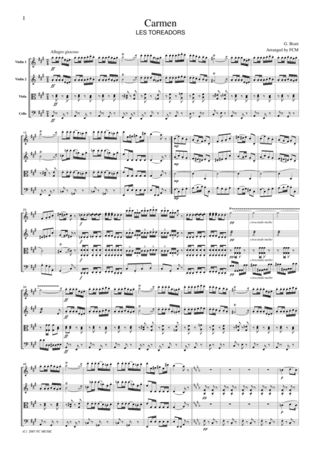 Bizet  Les Toreadors from Carmen, for string quartet, CB103