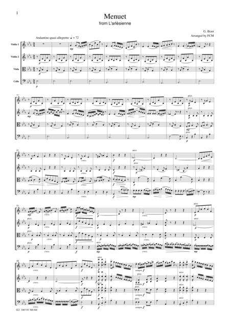 Bizet  Menuet from L'arlesienne, for string quartet, CB104