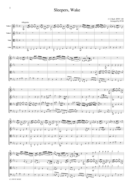 J.S.Bach  Sleepers, Wake from BWV140, for string quartet, CB208