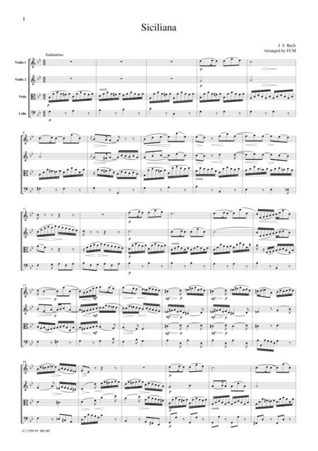 J.S.Bach  Siciliana, for string quartet, CB210