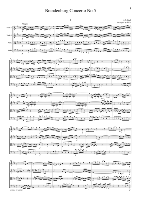 J.S.Bach  Brandenburg Concerto No.5, all mvts., BWV1050, for string quartet, CB215
