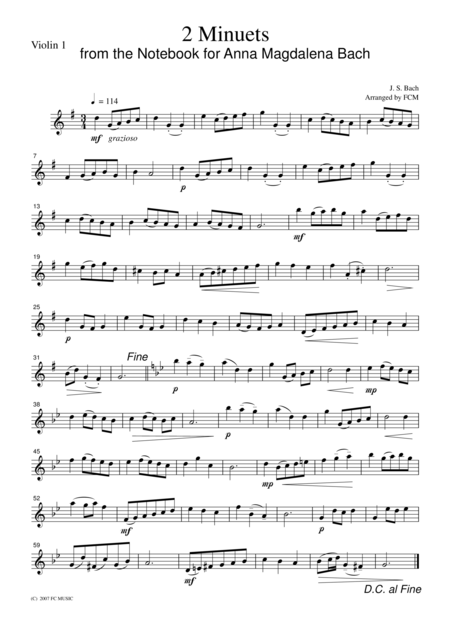 J.S.Bach  2 Minuets from the Notebook for Anna Magdalena Bach, for string quartet, CB217