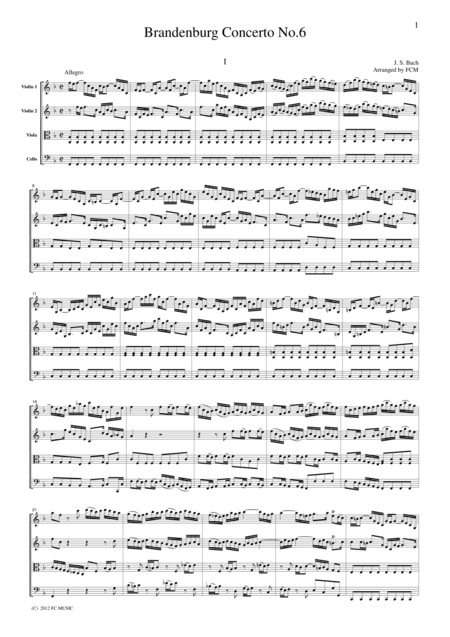 J.S.Bach  Brandenburg Concerto No.6, all mvts. for String Quartet, for string quartet, CB227