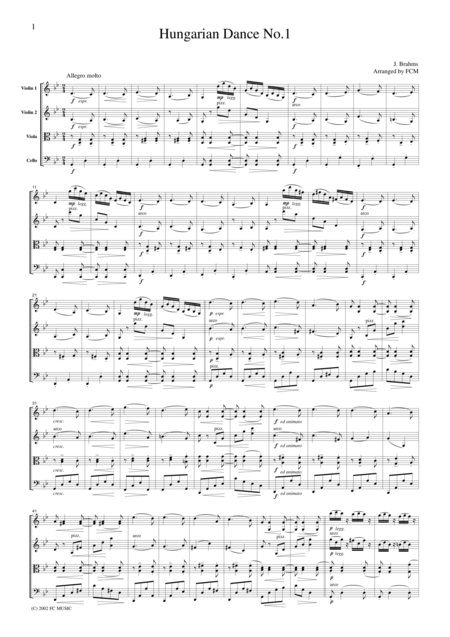 Brahms  Hungarian Dance No.1, for string quartet, CB302