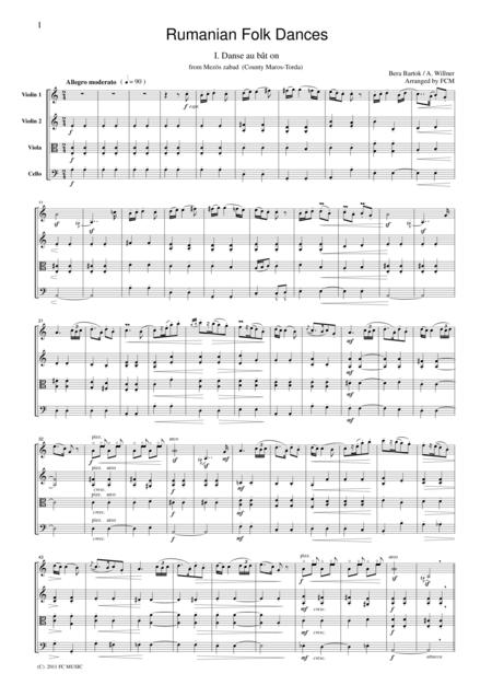 Bartok  Rumanian Folk Dances, for string quartet, CB601