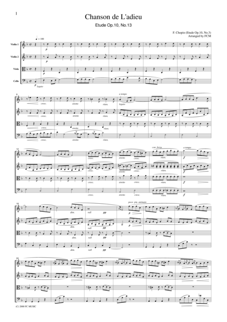 Chopin  Chanson De L'adieu (Etude Op.10, No.3), for string quartet, CC001