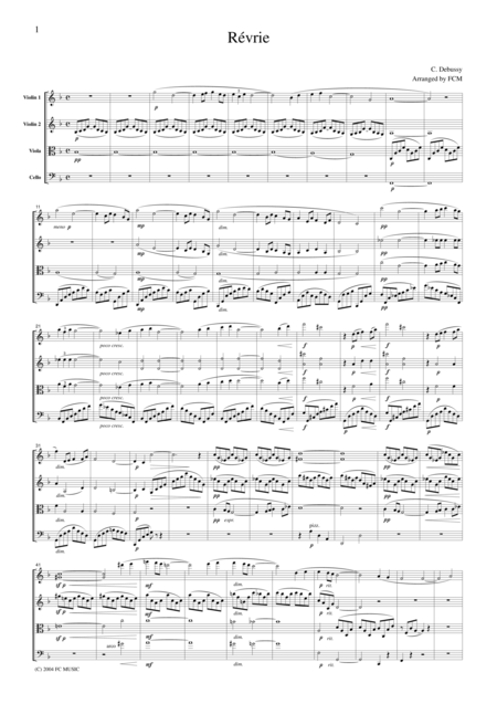 Debussy  Revrie (Dreaming), for string quartet, CD003