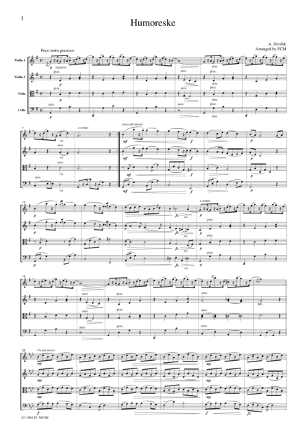 Dvorak  Humoreske, for string quartet, CD201