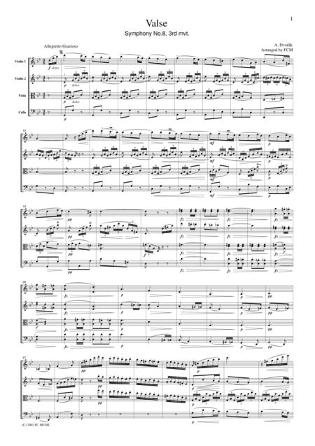 Dvorak  Valse from Symphony No.8, 3rd mvt., for string quartet, CD202