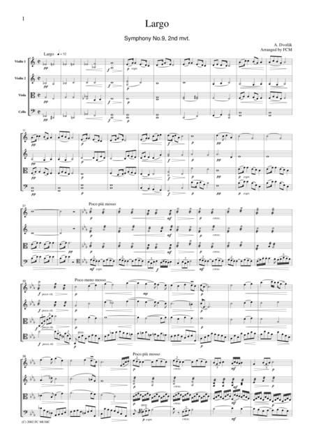Dvorak  Largo from Symphony No.9, 2nd mvt., for string quartet, CD203