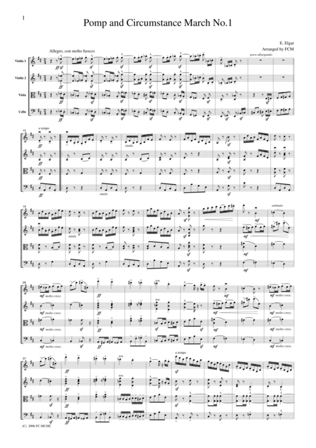Elgar  Pomp and Circumstance March No.1, for string quartet, CE001