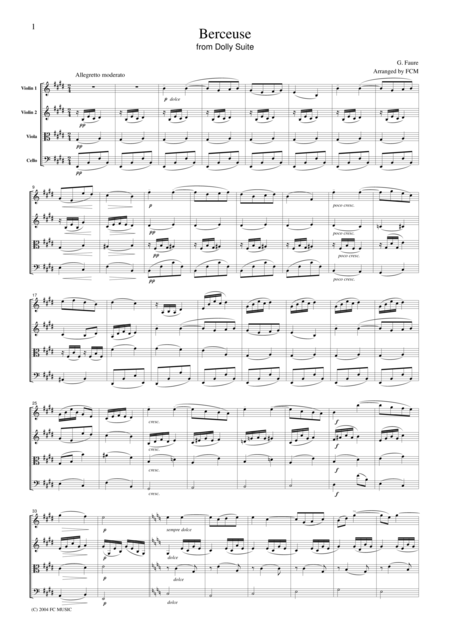 Faure  Berceuse from Dolly Suite, for string quartet, CF103