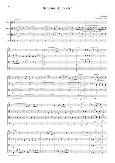 Godard  Berceuse de Jocelyn, for string quartet, CG401