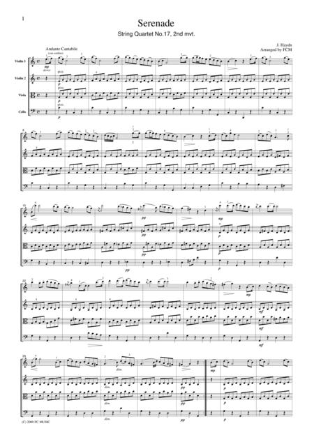 Haydn  Serenade (String Quartet No.17, 2nd mvt.), for string quartet, CH001