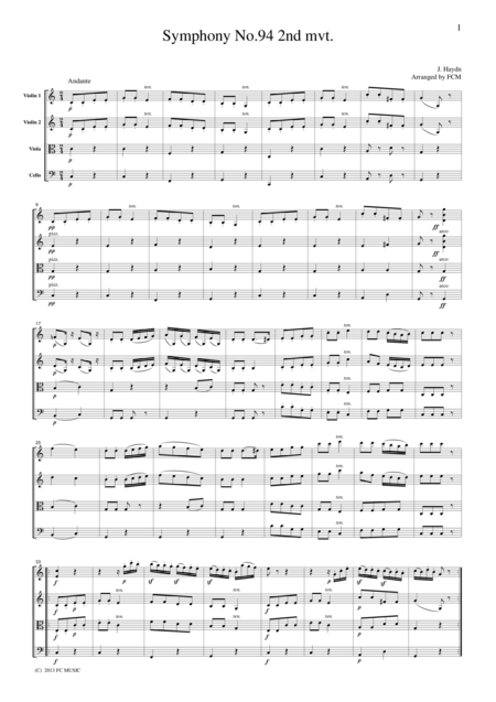 Haydn  Symphony No.94 2nd mvt., for string quartet, CH002