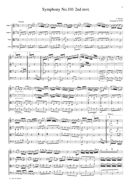 Haydn  Symphony No.101 2nd mvt., for string quartet, CH003