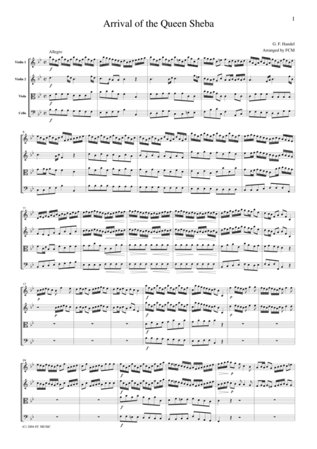 Handel  Arrival of the Queen Sheba, for string quartet, CH102