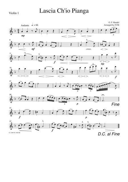 Handel  Lacia Ch'io Pianga, for string quartet, CH103