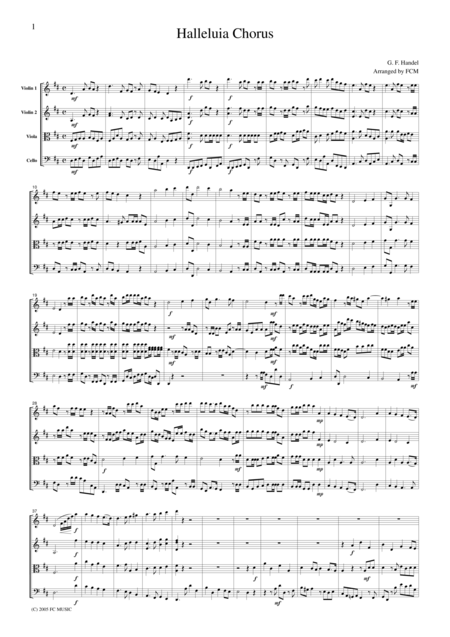Handel  Halleluia Chorus, for string quartet, CH104