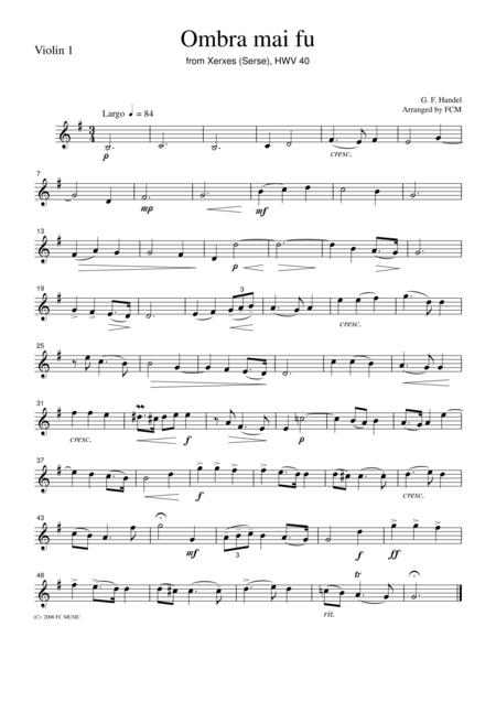 Handel  Ombra mai fu (Largo), for string quartet, CH107