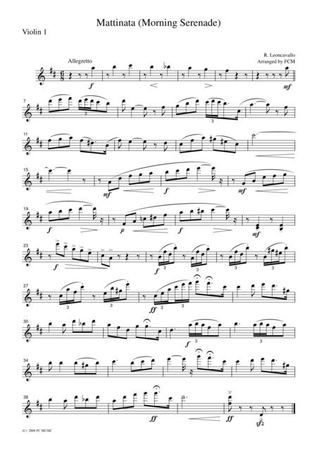 Leoncavallo  Mattinata, for string quartet, CL101