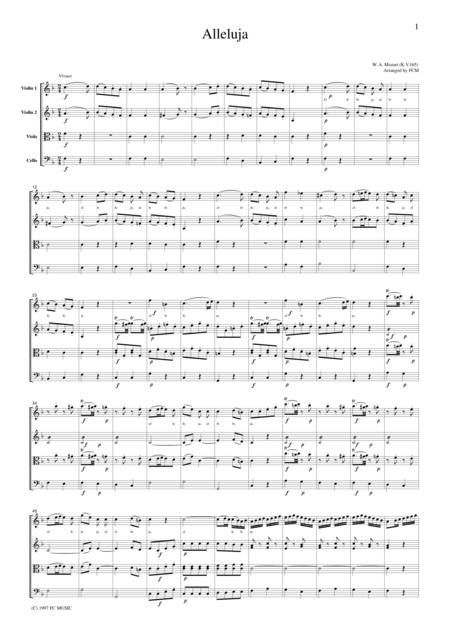 Mozart  Alleluja, for string quartet, CM002