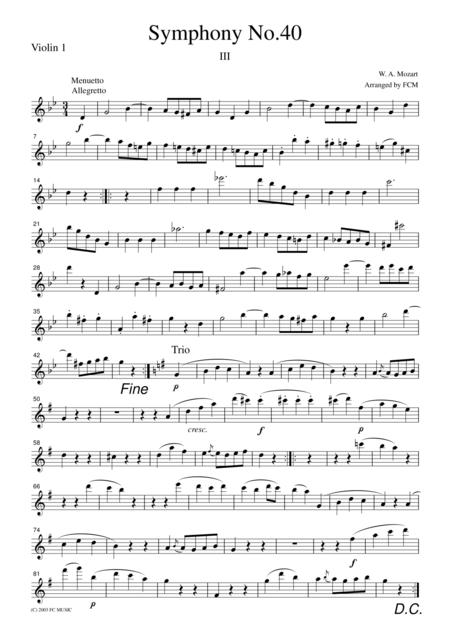 Mozart  Menuetto (Symphony No.40, 3rd mvt.), for string quartet, CM009