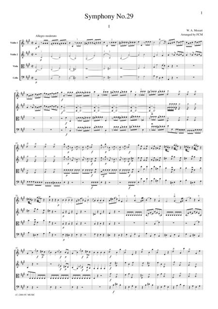 Mozart  Symphony No.29, all mvts., for string quartet, CM012