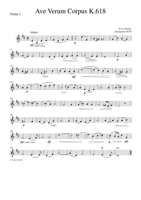 Mozart  Ave Verum Corpus K.618, for string quartet, CM019