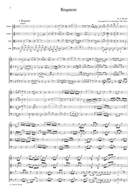 Mozart  Requiem K.626 (arranged by Lichtenthal), all mvts., for string quartet, CM020