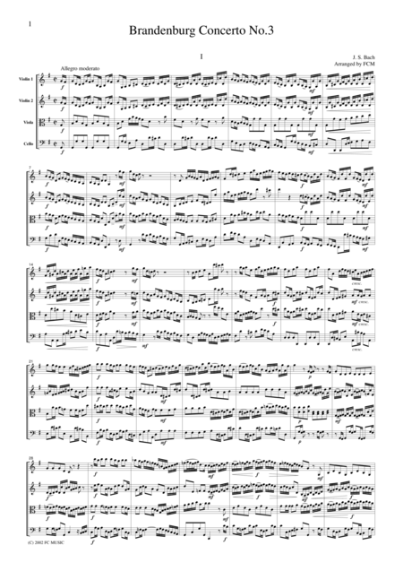 J.S.Bach  Brandenburg Concerto No.3, all mvts., BWV1048, for string quartet, CB212