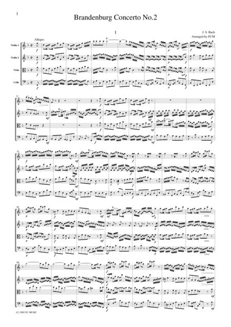 J.S.Bach  Brandenburg Concerto No.2, all mvts., BWV1047, for string quartet, CB214