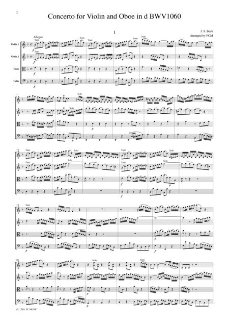 J.S.Bach  Concerto for Violin and Oboe in d BWV1060, for string quartet, CB225