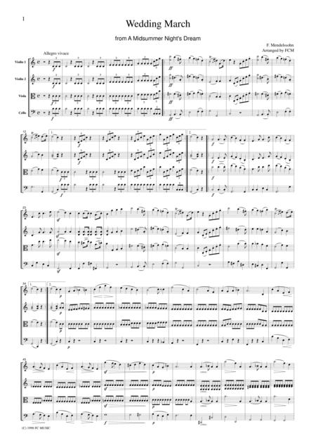 Mendelssohn  Wedding March from A Midsummer Night's Dream, for string quartet, CM201