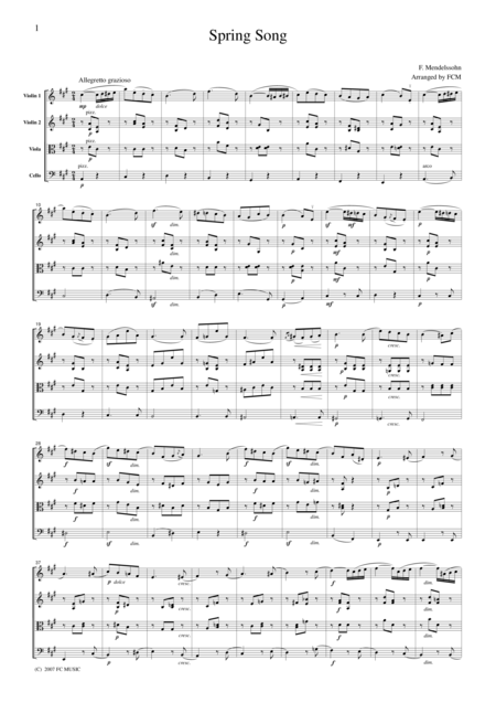 Mendelssohn  Spring Song, for string quartet, CM202